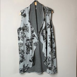 Bryn Walker Draped Floral Gray Duster Vest
